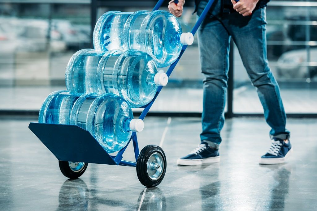 Largewater bottles on hand truck